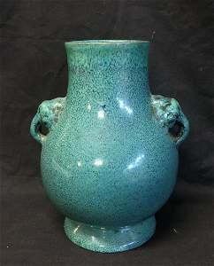 Antique Chinese Yixing Zisha Green-Glazed Vase