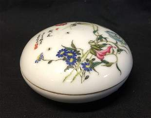Antique Chinese Famille Rose Ink Box
