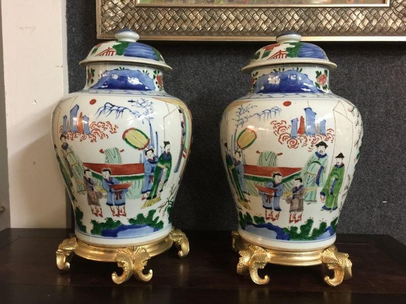 Pair of Antique Wucai Cover Jar