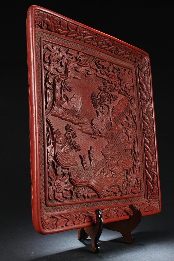 A Chinese  Cinnabar Lacquered Plate