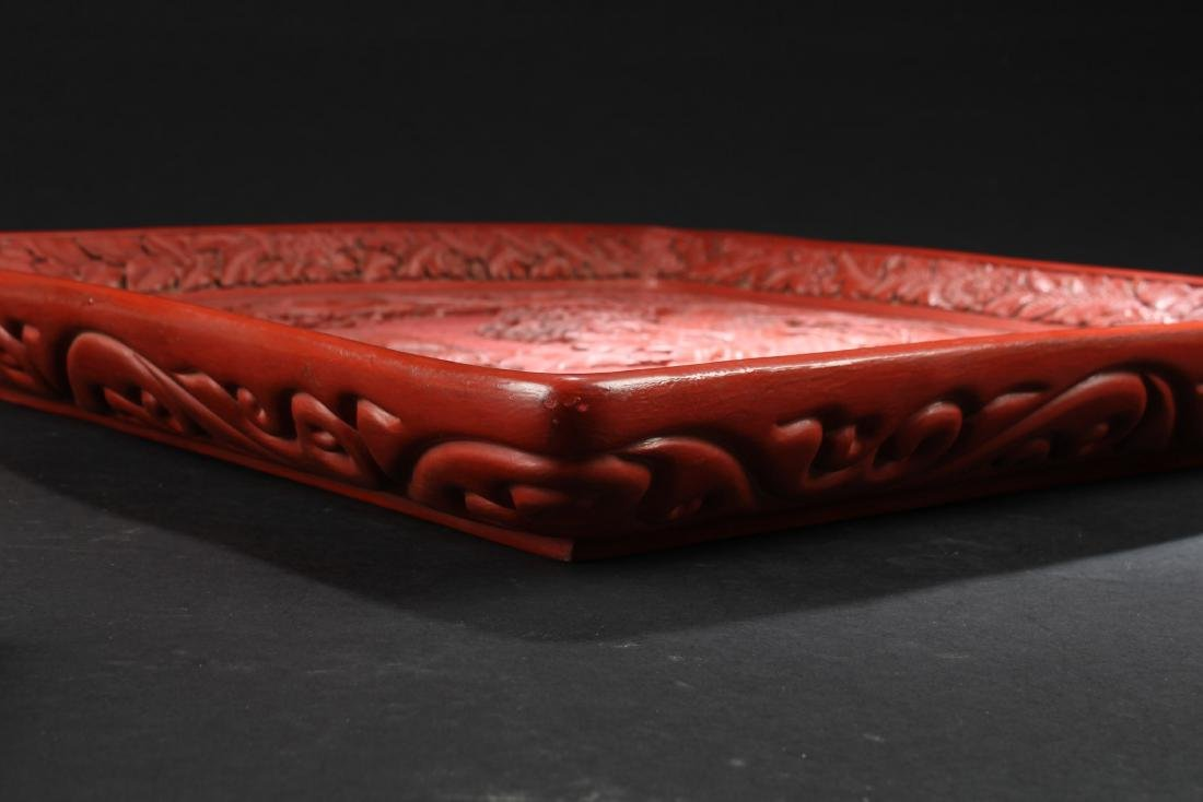 A Chinese  Cinnabar Lacquered Plate - 2