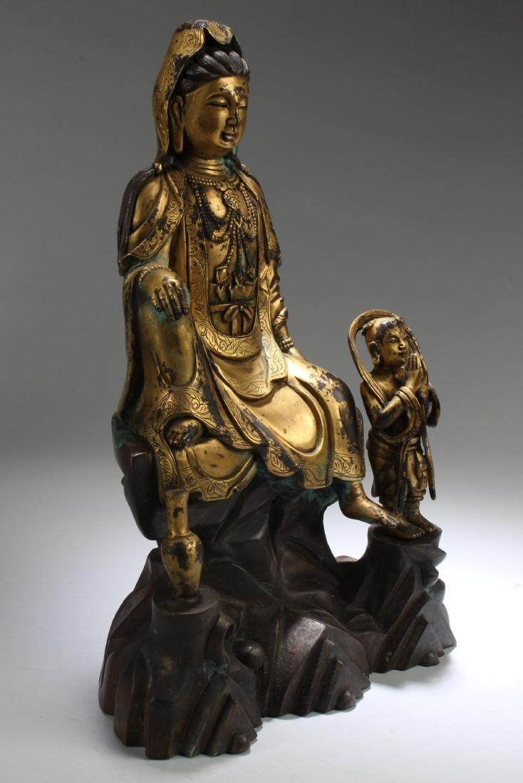 Chinese Gilt Bronze Guanyin Statue - 2