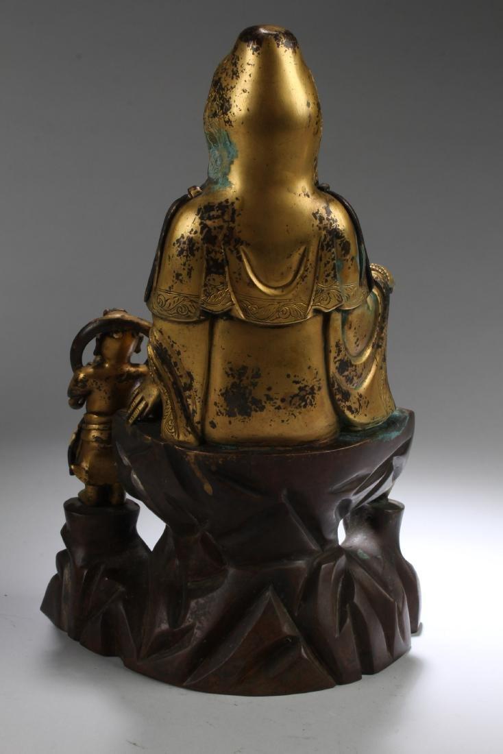 Chinese Gilt Bronze Guanyin Statue - 4