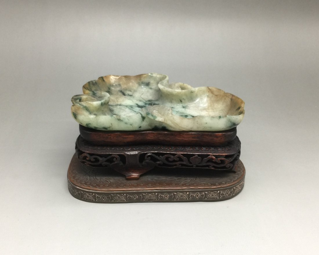 Qing Dynasty Carved Jadeite Washer with Hardwood Stand