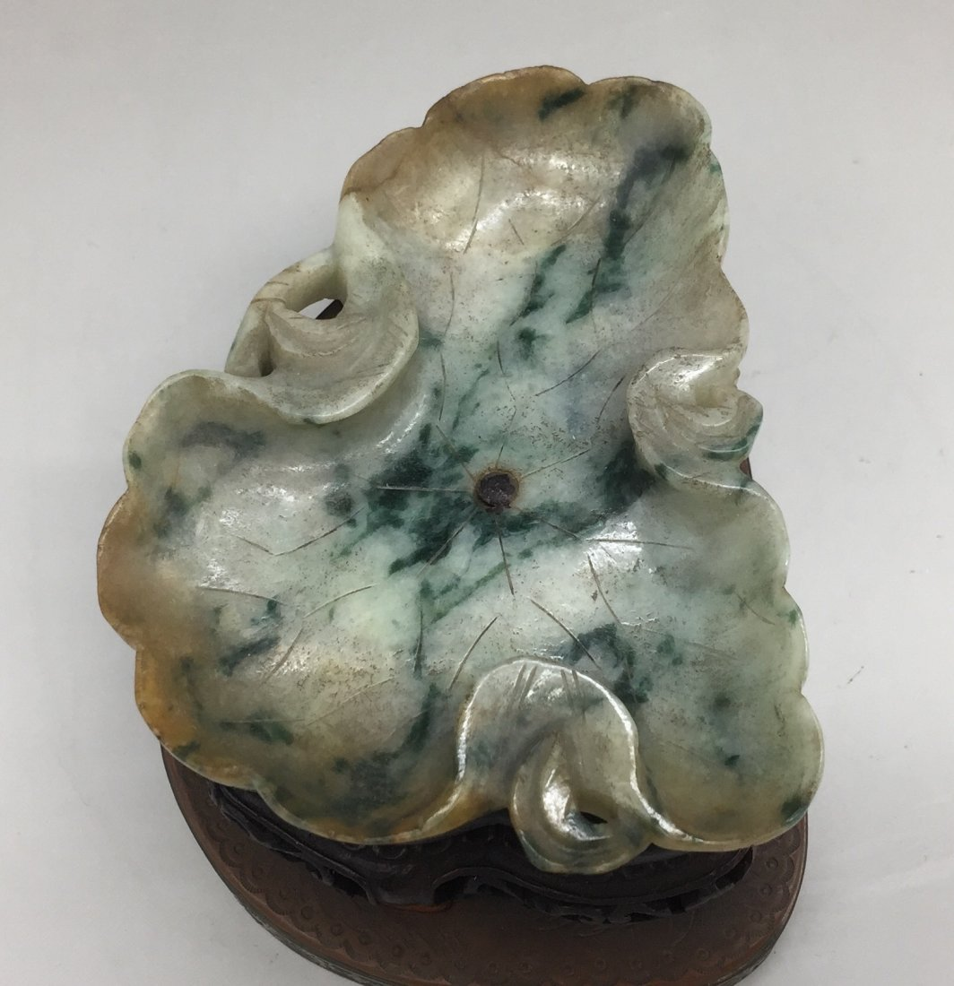 Qing Dynasty Carved Jadeite Washer with Hardwood Stand - 4
