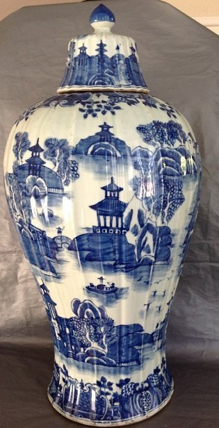 Large Antique Chinese Blue and White Meiping Caver Jar