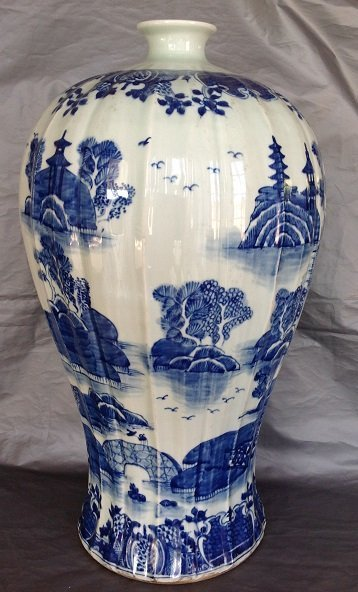 Large Antique Chinese Blue and White Meiping Caver Jar - 2