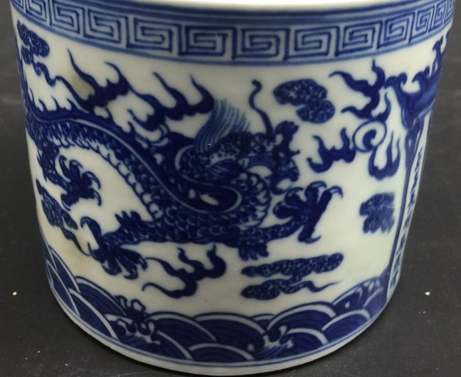 A Mid Qing Dynasty Blue-White Incense Burner - 3