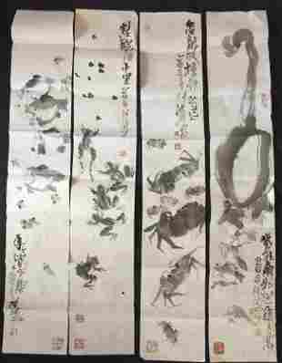 4 Pieces Chinese Water Color Painting