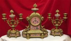 3 Pieces Bronze and Porcelain Clock Set