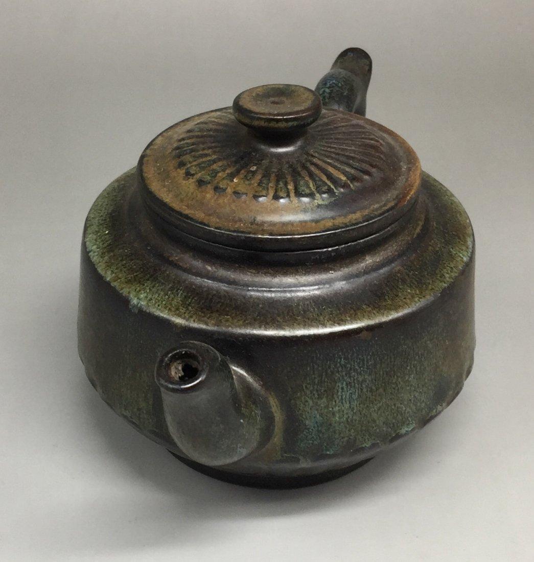 Chinese Yixing Zisha Green-Glazed Teapot - 2