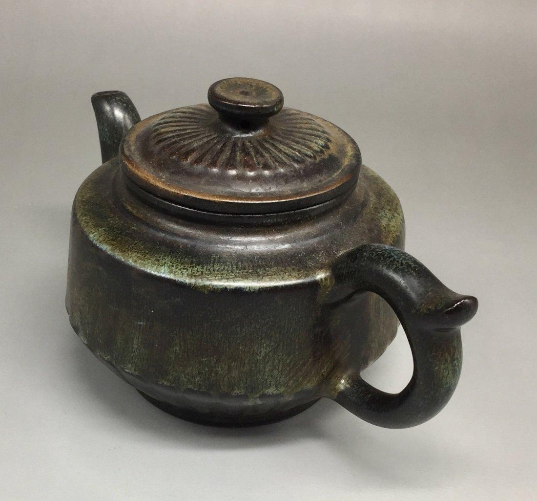 Chinese Yixing Zisha Green-Glazed Teapot - 3