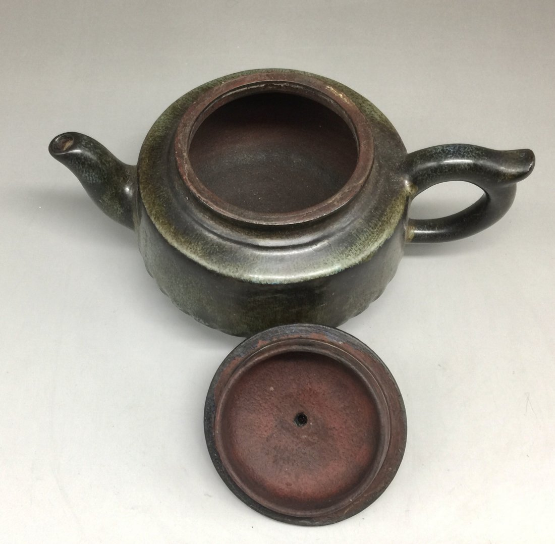 Chinese Yixing Zisha Green-Glazed Teapot - 5