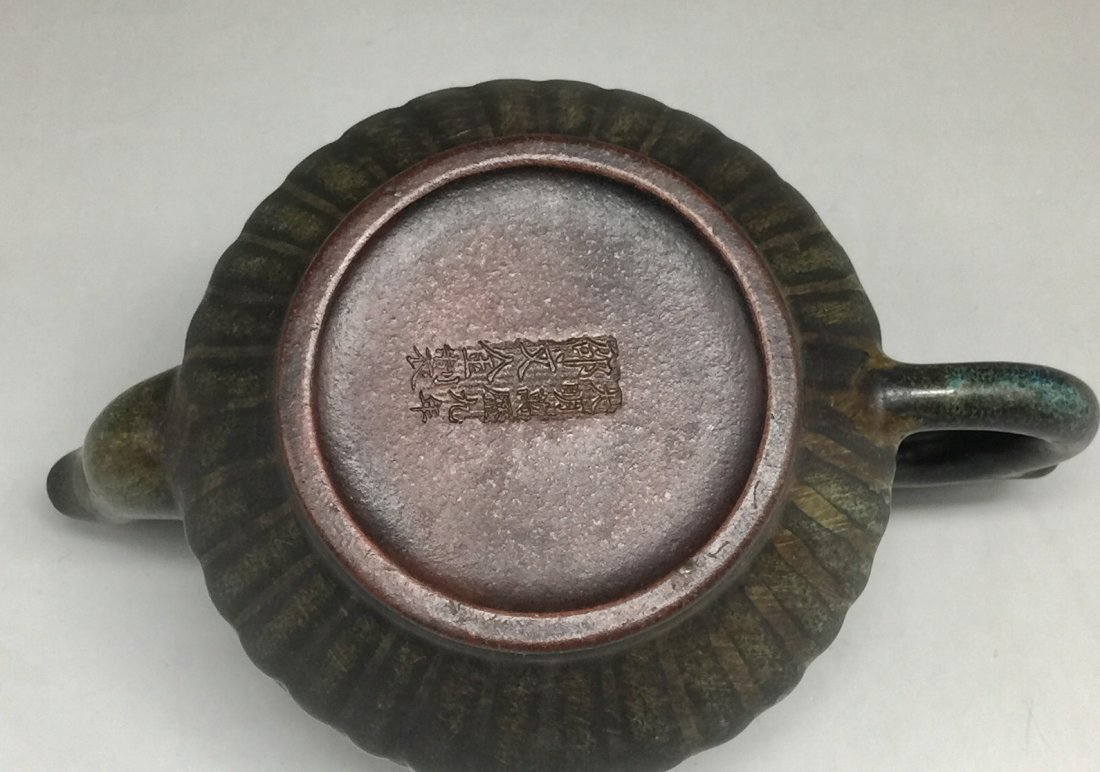 Chinese Yixing Zisha Green-Glazed Teapot - 6