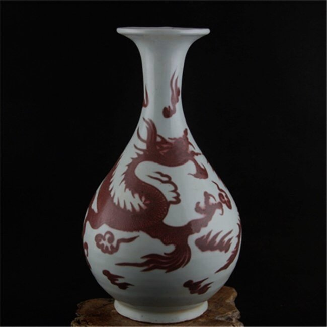 Chinese White and Copper-Red Yuhuchun Dragon Vase