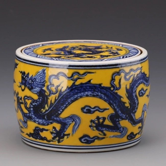 Antique Chinese Blue and White Yellow Jar with Cover - 2