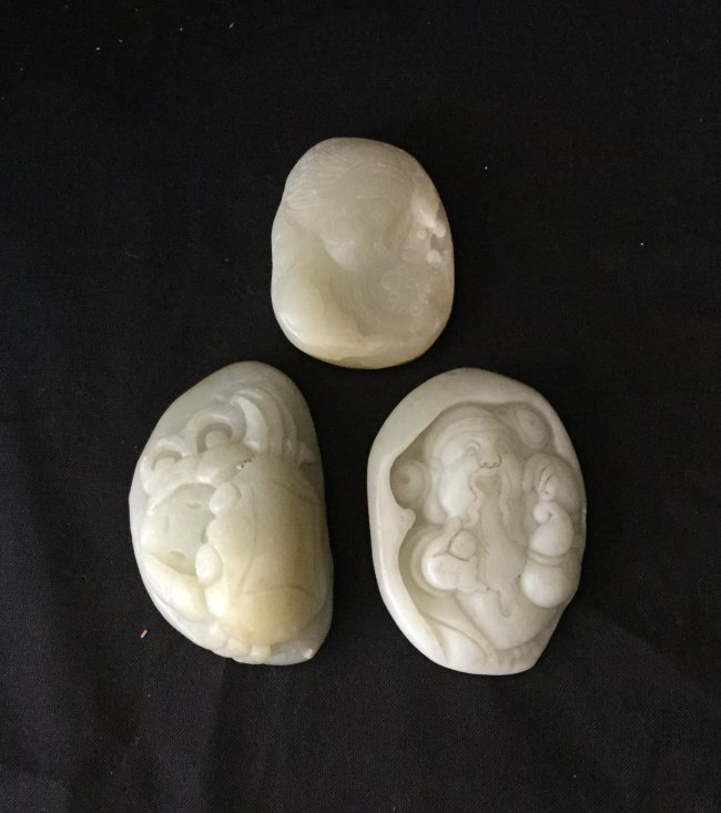 Three Pieces Chinese Carved Jade Pendant
