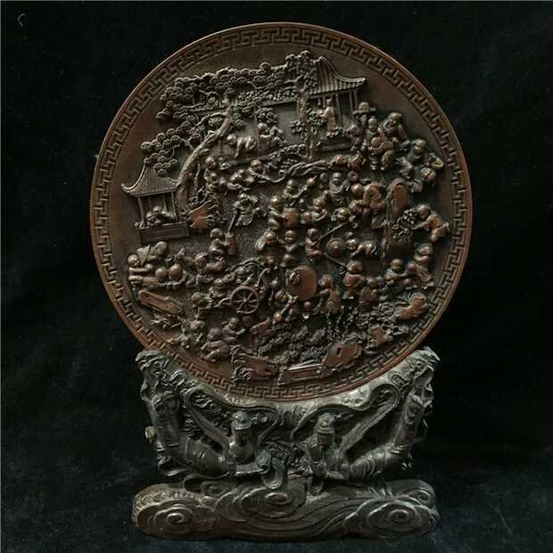 Chinese Huang Yang Wood Carved Handred Children Decrati