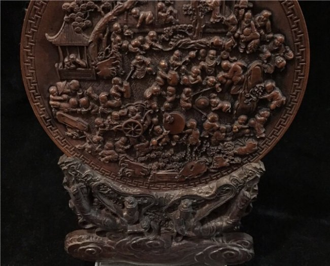 Chinese Huang Yang Wood Carved Handred Children Decrati - 2