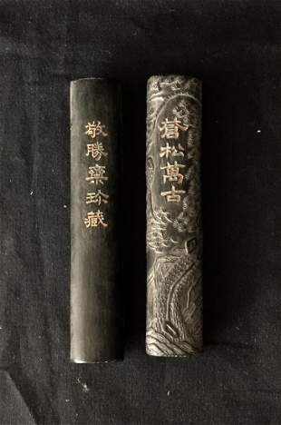 Two pieces Antique Chinese Huizhou Ink Sticks