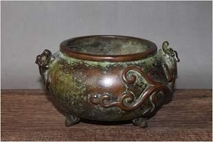 Antique Chinese Carved Bronze Censer
