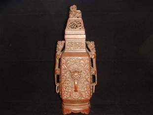 Qing Dynasty Chinese Carved Bamboo Vase with Cover