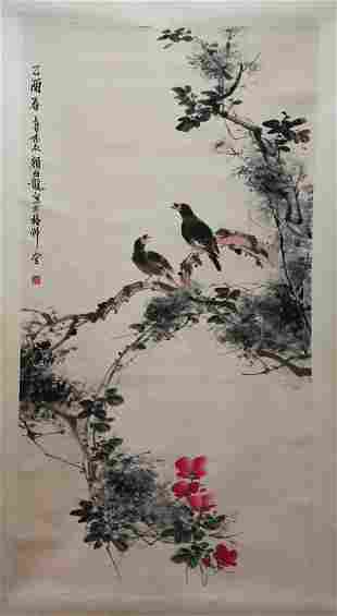 Chinese Flower and Birds Water Color Painting Scroll