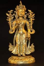 Antique Chinese Gilt Bronze Bodhisattva Statue