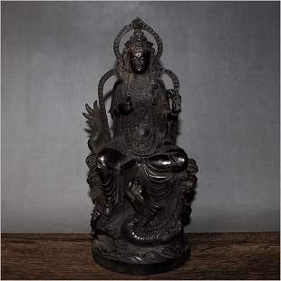 Antique Chinese Carved Bronze Buddha Statue