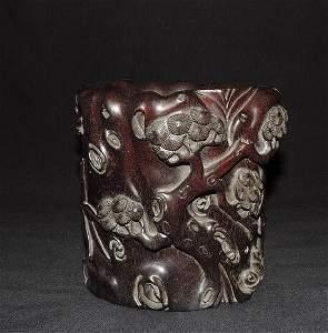 Antique Chinese Carved Zitan Wood Brush Holder