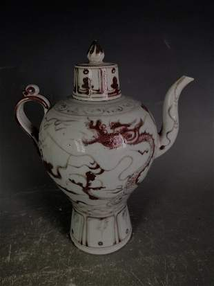 Antique Chinese CopperRed Ewer