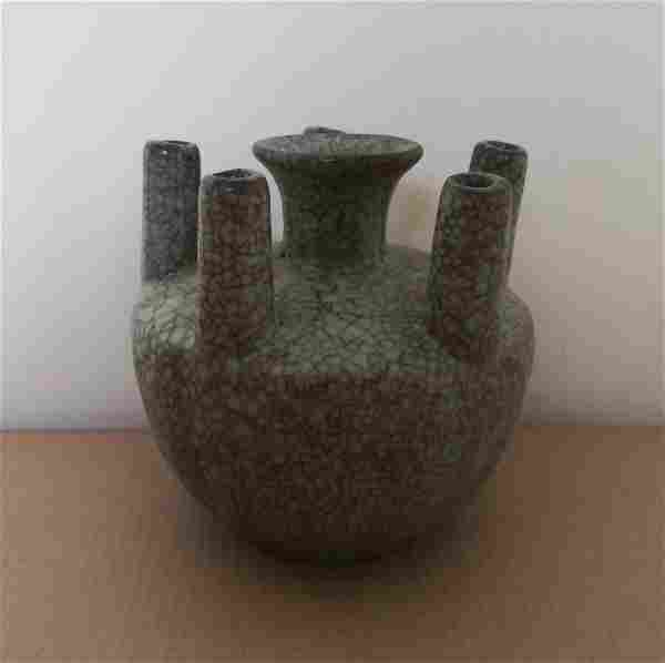 Antique Chinese Celadon Glazed Five-hole Tube Vase