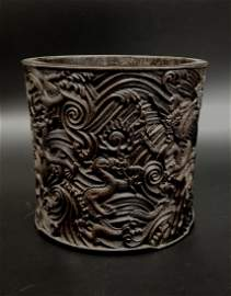 Antique Chinese Carved Zitan Brush Holder