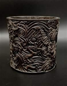 Antique Chinese Carved Zitan Brush Holder
