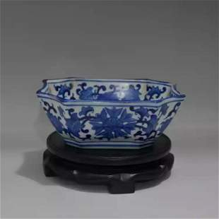 Antique Chinese Blue and White Octagonal Washer