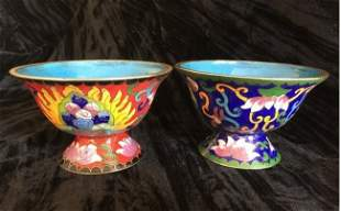 Two Antique Chinese Cloisonne Bowl