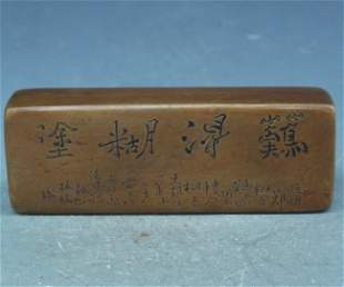 Antique Chinese Carved Bronze Ink Box