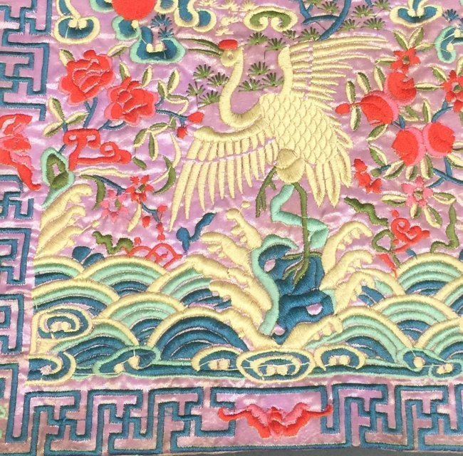 Antique Chinese Embroidered Panel - 2