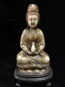 Antique Chinese Shoushan Stone Guanyin Statue