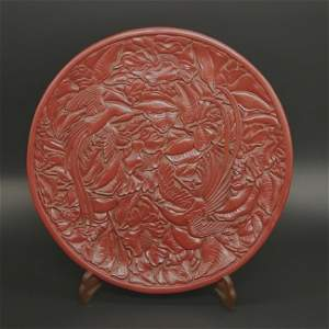 Antique Chinese Cinnabar Lacquered Round Plate