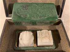 Pair of Antique Chinese White Jade Seals