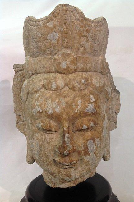 Antique Stone Buddha Head