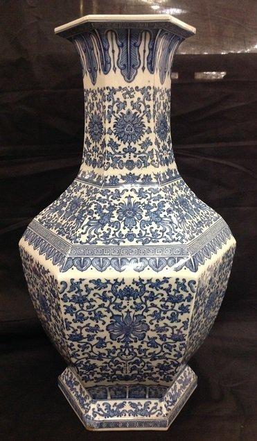 Qing QianLong QingHua Large hexagonal Vase