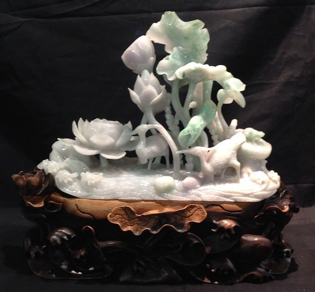 Jadeite Flamingo and Frog Playing In Lotus Pond