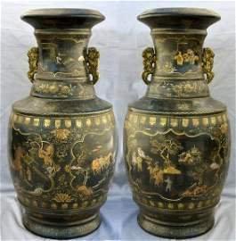 Pair of Large And Rare Lacquer Black Gold Wood Vase