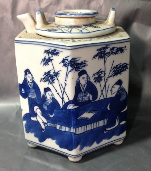 Antique White and Blue Warmer Pot(for wine)