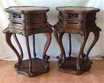 A Pair of Qing Hardwood High-waisted Incense Stand