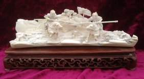 Rare Ivory Carved San Yin/Lu Pu Fighting Scene