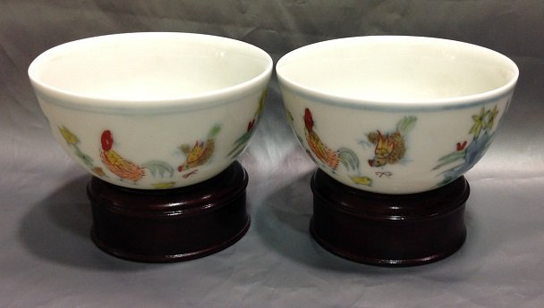A Pair of Famille Rose Chicken Cup