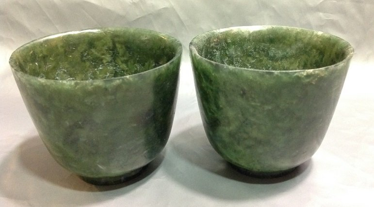 A Pair of Green Jade Cup